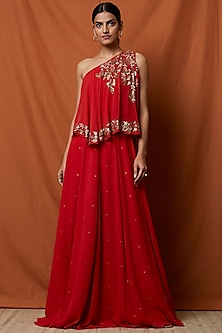 Red Floral Embellished Gown by Namrata Joshipura
