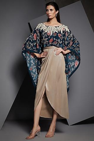 Midnight Blue Embroidered Cape With Skirt by Namrata Joshipura