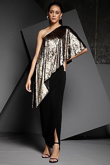 Gold & Black One Shoulder Gown by Namrata Joshipura