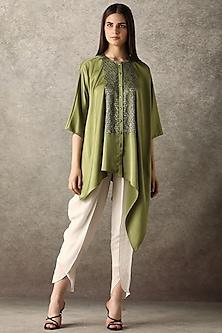 Chartreuse Green Embellished Top by Namrata Joshipura