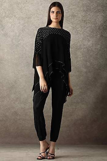 Black Embellished Metallic Top by Namrata Joshipura