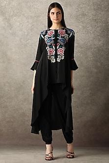 Black Floral Embroidered Tunic by Namrata Joshipura