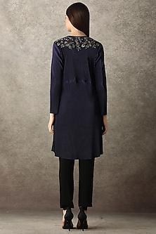 Navy Blue Floral Pleated Jacket by Namrata Joshipura