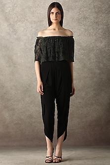 Black Floral Embroidered Jumpsuit by Namrata Joshipura