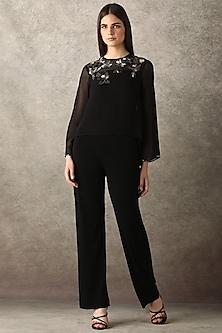 Black Embellished Cape Jumpsuit by Namrata Joshipura