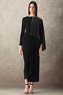 Black Shimmery Draped Dress by Namrata Joshipura