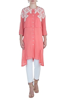 Coral Embroidered Georgette Top by Namrata Joshipura