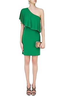 Green Jersey One Shoulder Dress by Namrata Joshipura