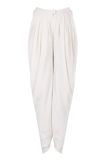 Ivory Pleated Dhoti Pants by Namrata Joshipura