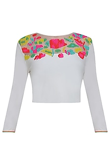 White rainbow blouse by Namrata Joshipura