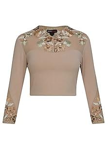 Sand colour desert trellis blouse by Namrata Joshipura