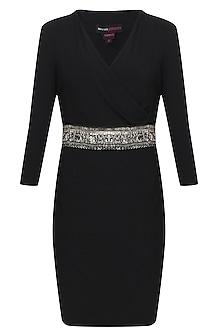 Black bedazzle monalisa dress by Namrata Joshipura