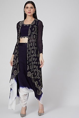Black Embroidered Pant Set by Nupur Kanoi