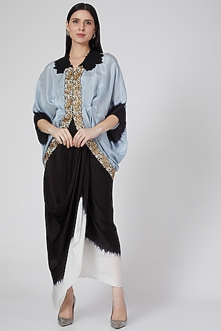 Powder Blue Embroidered Jacket Set by Nupur Kanoi
