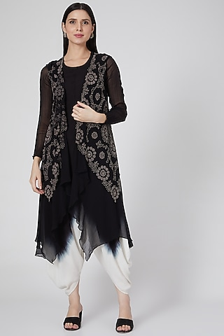 Black Embroidered Jumpsuit With Waistcoat by Nupur Kanoi