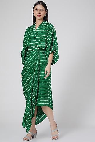 Green Printed Wrap Dress by Nupur Kanoi