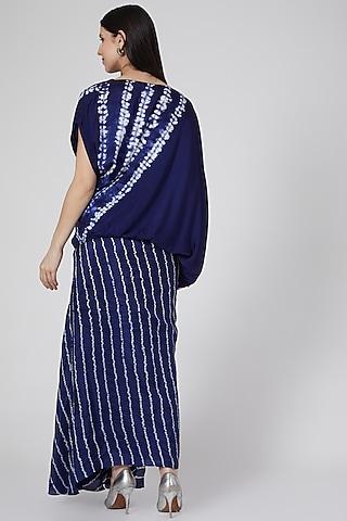 Blue Printed & Striped Skirt Set by Nupur Kanoi