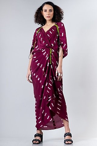 Burgundy Tied & Dyed Gathered Dress by Nupur Kanoi