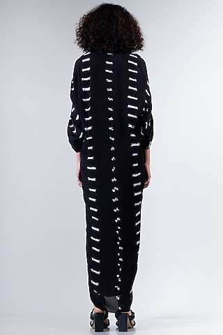 Black Knotted Tied & Dyed Dress by Nupur Kanoi