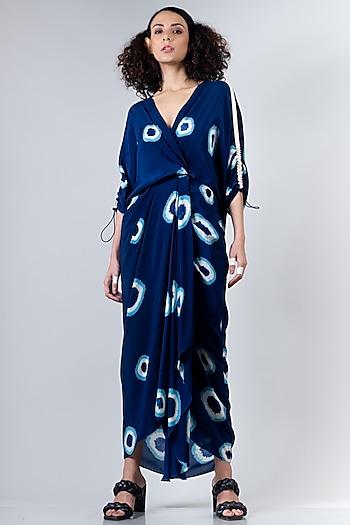Blue Elasticated Dress With Polkas by Nupur Kanoi
