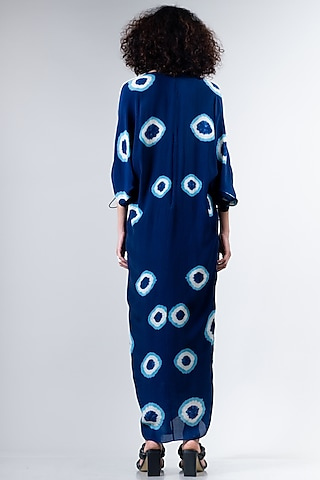 Blue Elasticated Dress With Polkas by Nupur Kanoi