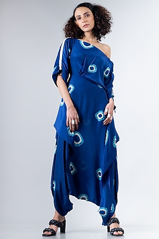 Blue Kaftan Dhoti Jumpsuit by Nupur Kanoi