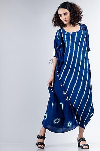 Blue Leheriya Sack Dress by Nupur Kanoi