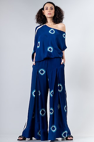Blue Box Pleated Pants Set by Nupur Kanoi