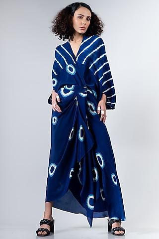 Blue Leheriya Kite Wrap Dress by Nupur Kanoi