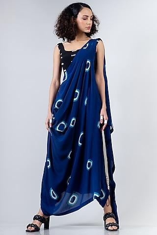 Blue & Black Tie-Dye Dhoti Saree Set by Nupur Kanoi