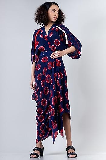 Blue & Red Shibori Dress by Nupur Kanoi