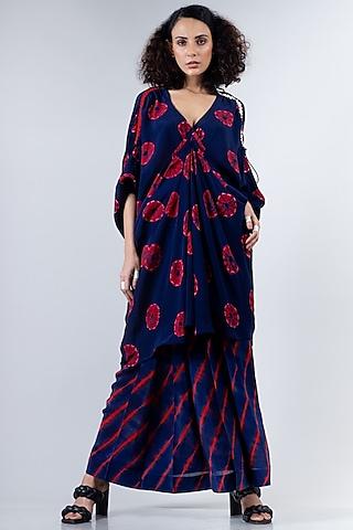 Blue & Red Shibori Dress With Lungi by Nupur Kanoi
