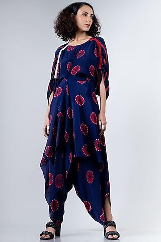 Blue & Red Kaftan Draped Jumpsuit by Nupur Kanoi