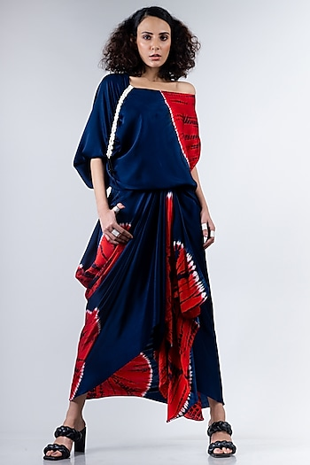 Blue & Red Cowl Skirt Set by Nupur Kanoi