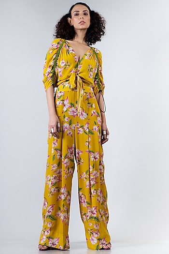 Yellow Printed Jumpsuit by Nupur Kanoi