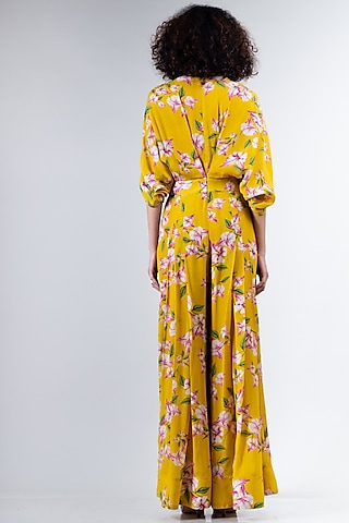 Yellow Floral Printed Jumpsuit by Nupur Kanoi