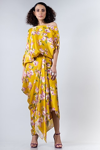 Yellow Printed Cowl Skirt Set by Nupur Kanoi