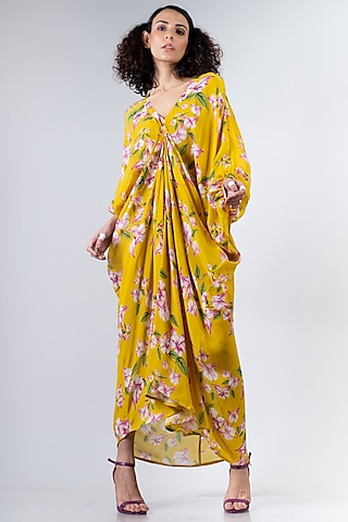 Yellow Floral Printed Dress by Nupur Kanoi