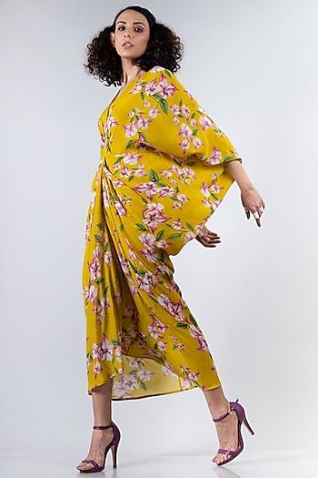 Yellow Printed Kite Dress by Nupur Kanoi