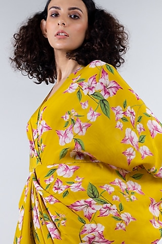 Yellow Printed Kite Dress by Nupur Kanoi