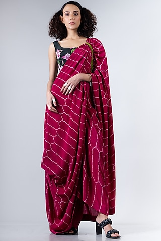 Beetroot Pink & Olive Green Cowl Saree Set by Nupur Kanoi