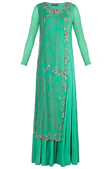 Sea Green Floral Jumpsuit by Nupur Kanoi