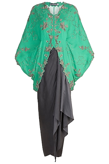 Sea Green Floral Short Kite Jacket With Skirt by Nupur Kanoi