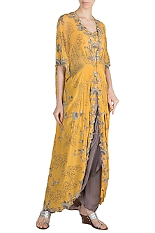 Yellow Floral Kite Jacket With Blouse & Skirt by Nupur Kanoi