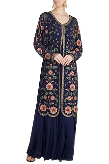 Blue Mochiwork Sharara Jumpsuit by Nupur Kanoi