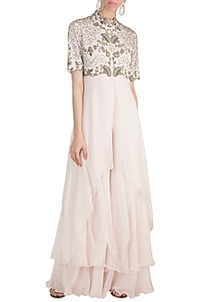 Baby Pink Floral Frill Jumpsuit by Nupur Kanoi