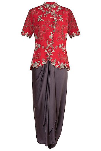 Red Floral Wrap Jacket With Dhoti Pants by Nupur Kanoi