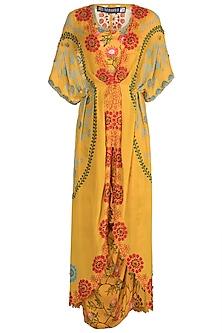Yellow Printed Kite Kaftan With Blouse & Skirt by Nupur Kanoi