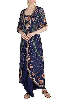 Blue Mochiwork Kite Kaftan With Blouse & Skirt by Nupur Kanoi