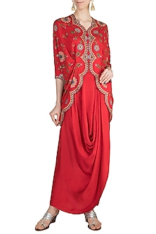 Red Mochiwork Kite Jacket With Skirt by Nupur Kanoi